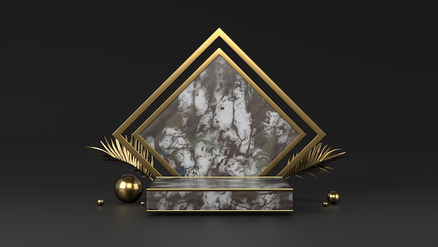 Pódio de caixa de mármore de luxo e folhas douradas em fundo preto.