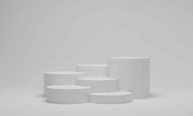 Pódio de cilindro branco ou plataforma redonda de pedestal
