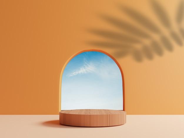 Pódio de cilindro de madeira com cena de céu de nuvem azul mínima da janela redonda e deixa sombra na parede laranja para exibição de estágio de produto de verão pela técnica de renderização em 3d.