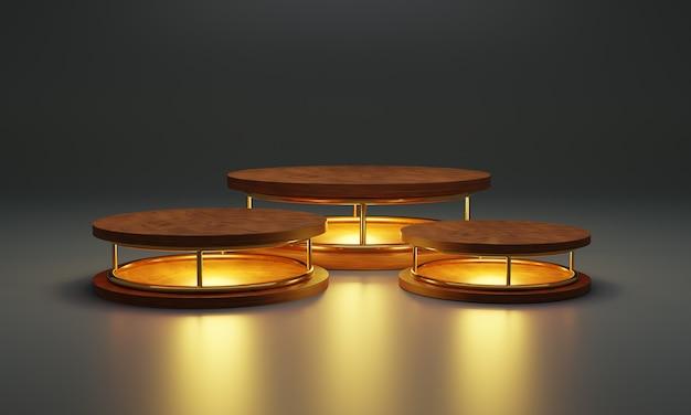 Pódio de cilindro de madeira com lâmpada de néon. estande de produtos, vitrine, ilustração 3d