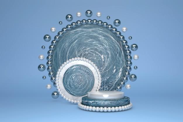Pódio de cilindro de mármore azul lindo vazio com padrão de mármore dourado e borda e círculo de decoração pérola em fundo azul pastel