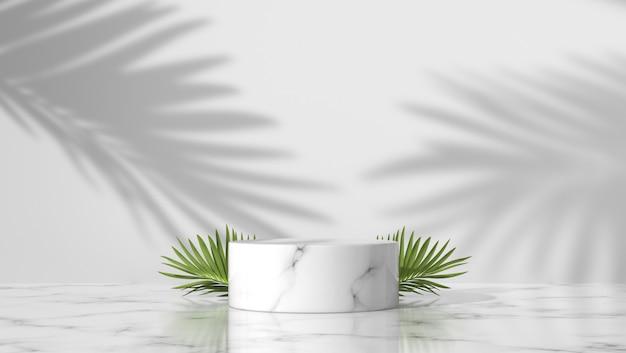 Pódio de cilindro de mármore branco de luxo com folhas de palmeira e sombra no fundo branco.