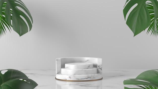 Pódio de cilindro de mármore branco de luxo e folhas de palmeira em fundo branco