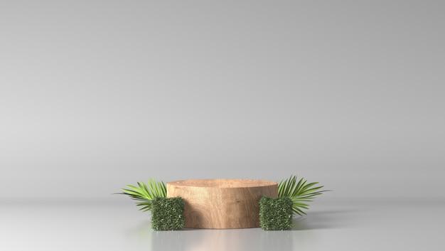 Pódio de cilindro fino de madeira marrom luxo mínimo e folhas verdes em fundo branco