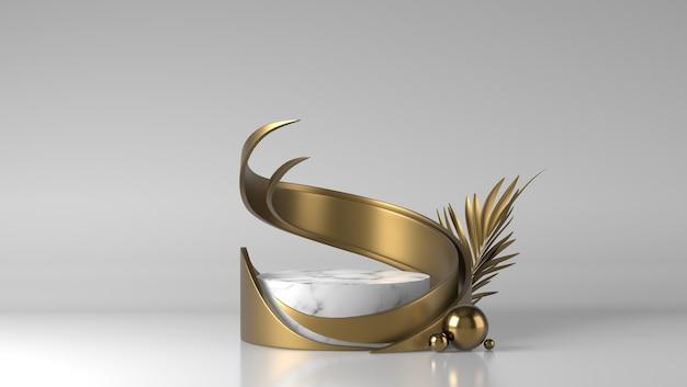 Pódio de colocação de produto em mármore branco luxuoso e forma abstrata de fluxo dourado