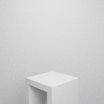Pódio de concreto branco. exibição do produto. renderização 3d