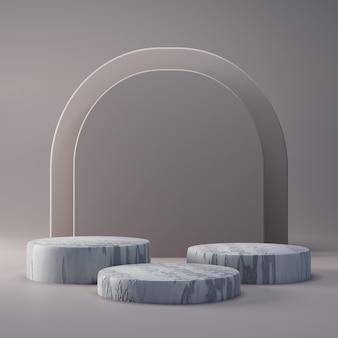 Pódio de concreto com fundo abstrato, cena para a exposição do produto