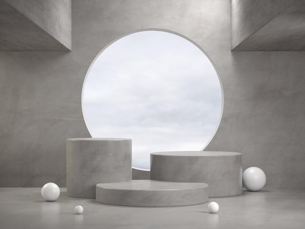 Pódio de concreto polido de maquete definido com janela circular abstrata