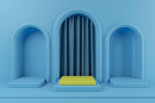 Pódio de cor amarela pendente de conceito mínimo e pódio de cor azul com cortina de cor azul para o produto. renderização 3d.