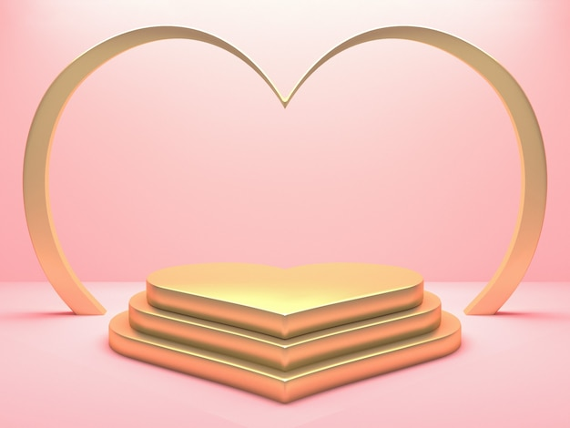 Pódio de coração metálico ouro sobre fundo rosa. feliz dia dos namorados e o conceito de casamento. renderização 3d