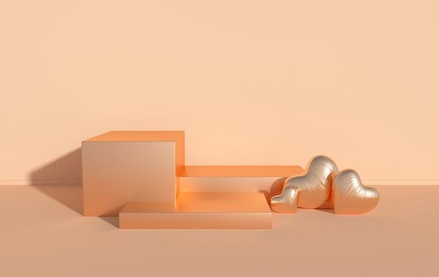 Pódio de corações em folha renderizada para apresentação do produto