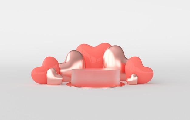 Pódio de corações renderizados no chão