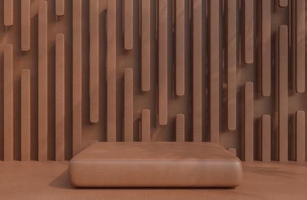 Pódio de couro marrom para apresentação de produto em estilo luxuoso de fundo de parede de couro marrom., modelo 3d e ilustração.