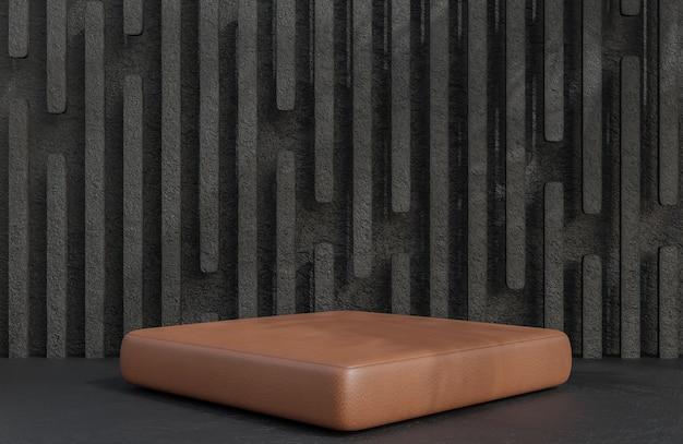 Pódio de couro marrom para apresentação de produtos em estilo luxuoso de fundo de parede de pedra, modelo 3d e ilustração.