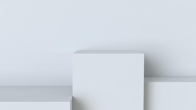 Pódio de cubo branco no fundo da parede em branco