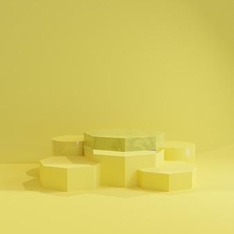 Pódio de design de carrinho amarelo abstrato. renderização 3d.
