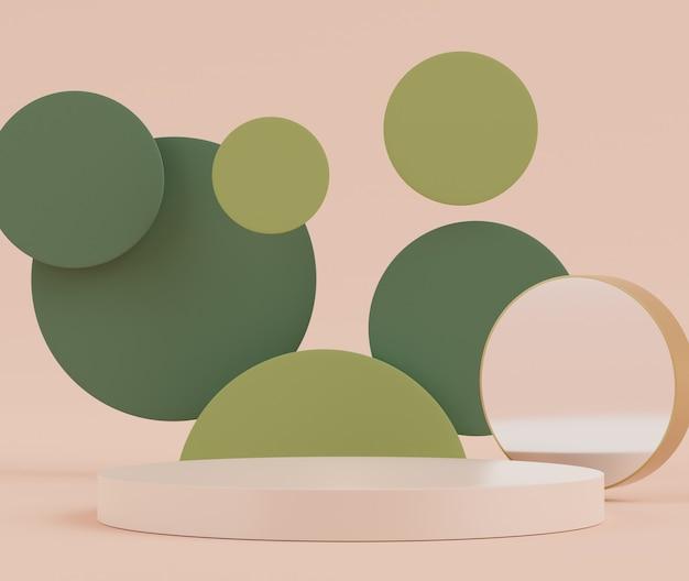 Pódio de exibição 3d com cena de tons terrestres para produtos cosméticos de exibição