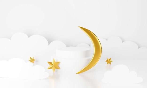 Pódio de exibição branco com fundo de lua de estrelas douradas.