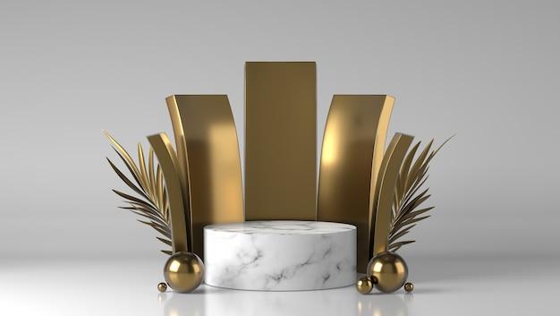 Pódio de exibição de colocação de produto de luxo abstrato em mármore branco e dourado com folhas douradas