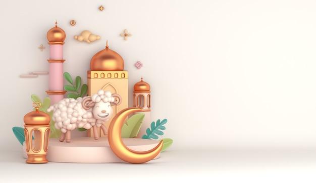 Pódio de exibição de decoração islâmica eid al adha com mesquita de cabra ovelha lanterna árabe crescente