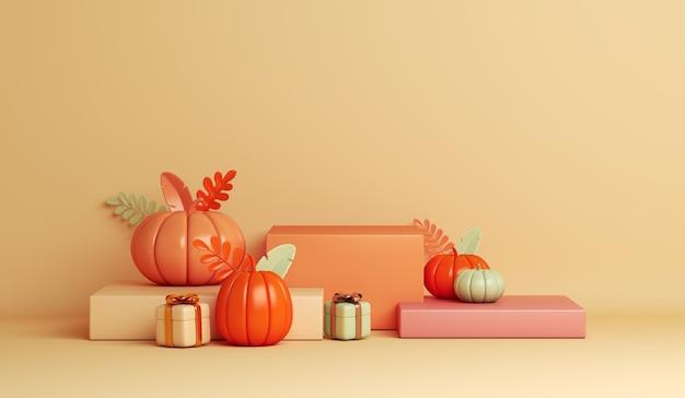 Pódio de exibição de feliz dia das bruxas com caixa de presente de abóbora em fundo laranja