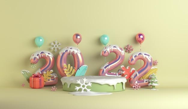 Pódio de exibição de inverno simulado de fundo de decoração com flocos de neve e folhas de balão de caixa de presente