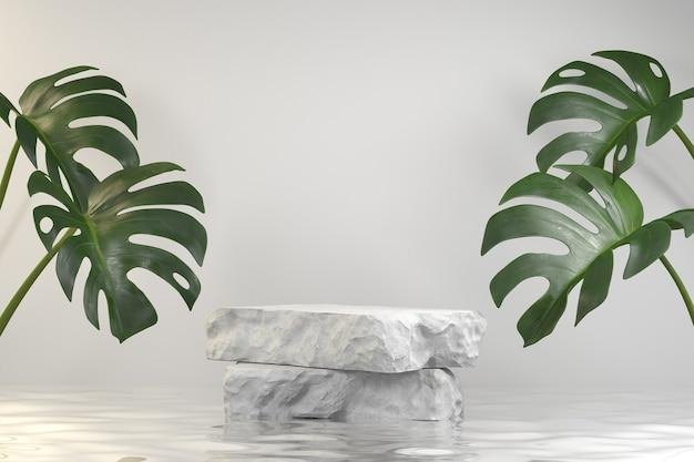 Pódio de exibição de lajes de pedra na ondulação da água com fundo monstera renderização em 3d