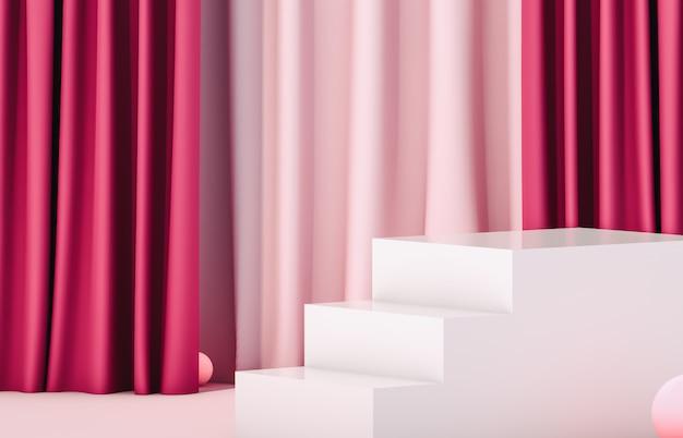 Pódio de exibição de luxo com escadas de caixa vazia de cubo branco. cena de luxo. 3d render rosa.