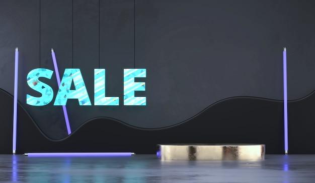 Pódio de exibição de produto abstrato com textos de venda e fundo de luz de néon renderização em 3d