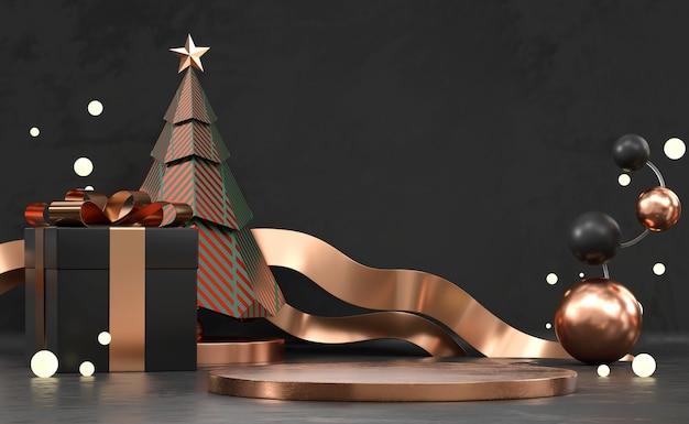 Pódio de exibição de produto abstrato de feliz natal com árvore de pinho e renderização de decoração