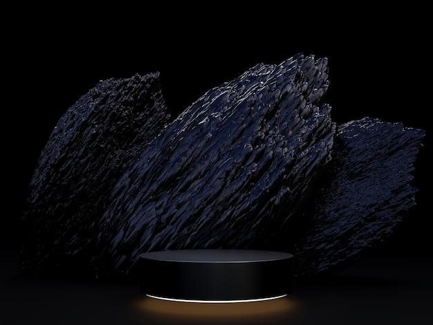 Pódio de exibição de produto conceito de sexta-feira negra com fundo de pedra preta e áspera renderização em 3d