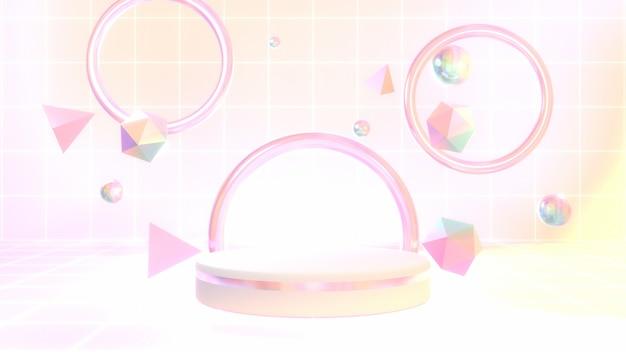 Pódio de exibição de produto renderizado em 3d com formas geométricas brilhantes