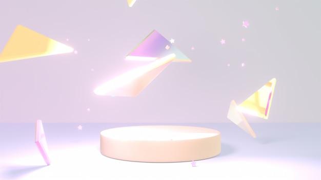 Pódio de exibição de produto renderizado em 3d com triângulos brilhantes e estrelas