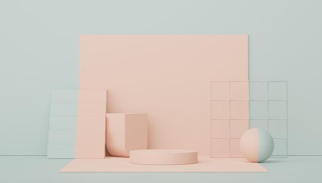 Pódio de exibição de renderização 3d para cena mínima de apresentação de produto e cosmética para publicidade