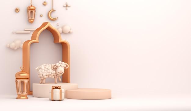 Pódio de exposição de decoração islâmica eid al adha com meia lua crescente de ovelha cabra