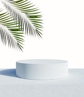 Pódio de exposição de produto branco e folhas de palmeira tropical com fundo do mar. renderização 3d
