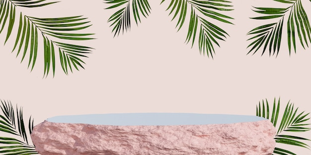 Pódio de exposição de produto de rocha com fundo de folhas tropicais. renderização 3d