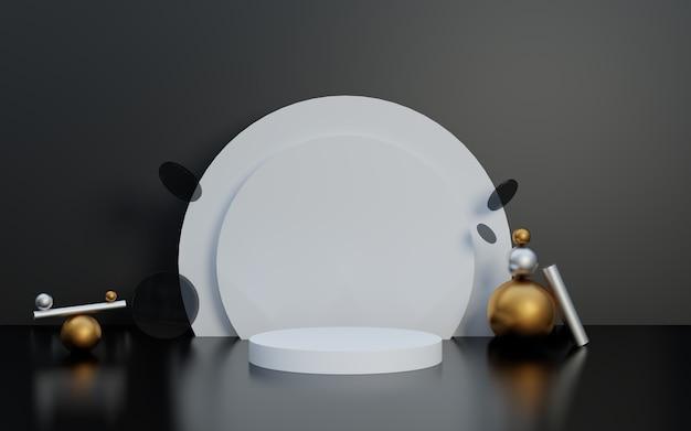 Pódio de exposição de produto em preto e branco com bola dourada