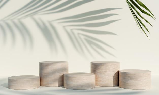 Pódio de exposição de produtos de madeira com folhas naturais de sombra em fundo branco. renderização 3d