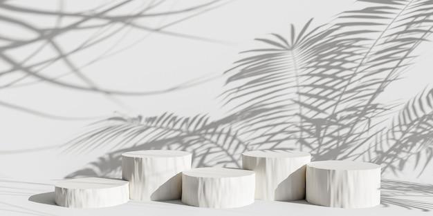 Pódio de exposição do produto com folhas naturais de sombra em fundo pastel renderização 3d