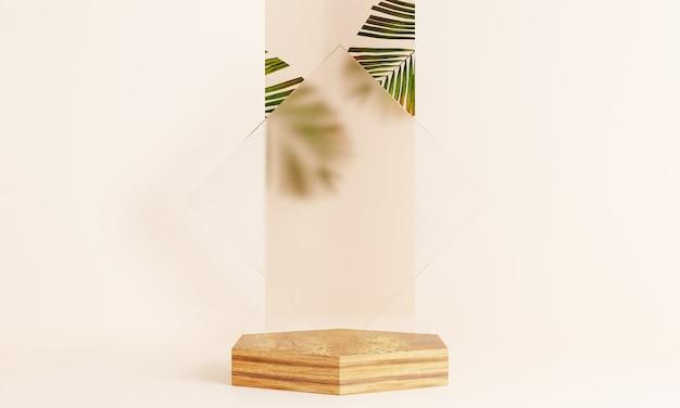 Pódio de exposição do produto com folhas tropicais em fundo pastel. renderização 3d