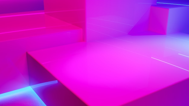 Pódio de exposição do produto com luz de néon fumaça e roxo