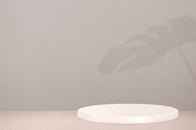 Pódio de exposição do produto com parede cinza e sombra de folhas