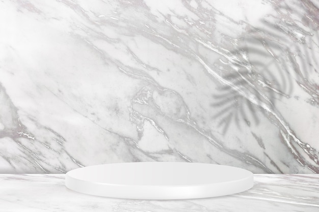 Pódio de exposição do produto com parede de mármore e sombra de folhas