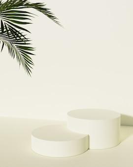Pódio de exposição do produto em cor pastel com folha. renderização 3d
