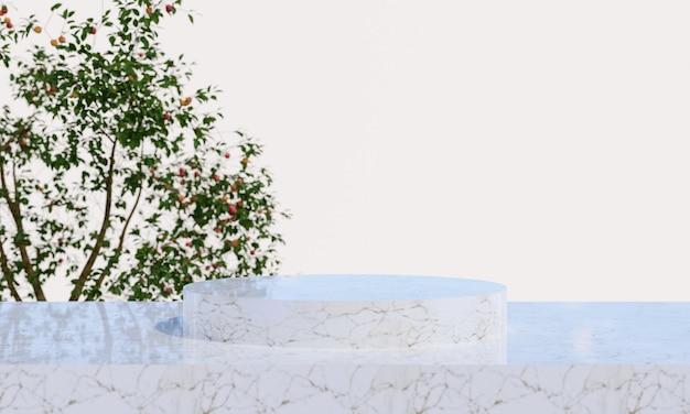 Pódio de exposição do produto em mármore com fundo de folhas de natureza turva. renderização 3d