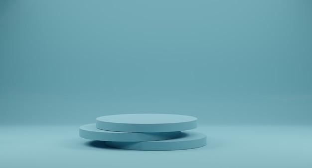 Pódio de forma geométrica azul