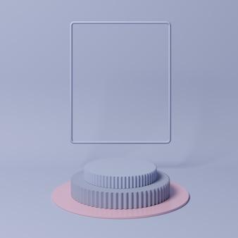 Pódio de forma geométrica cor roxa para o produto.