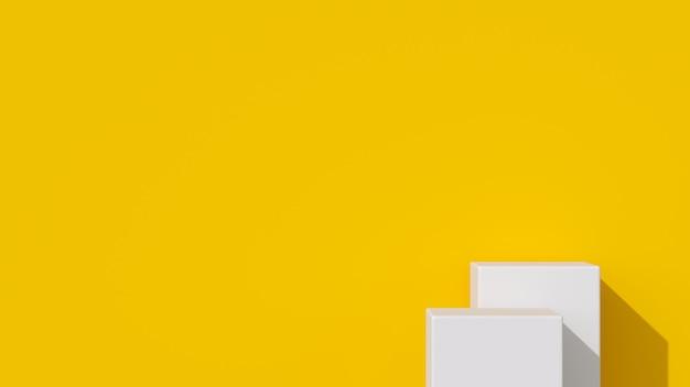 Pódio de forma geométrica de cor branca para o produto.