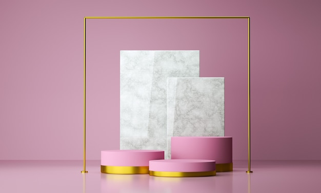 Pódio de forma geométrica de maquete para design de produto com fundo rosa, renderização em 3d.